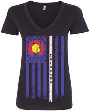 Colorado State American Flag Women's V-Neck T-Shirt Denver US Pride