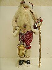 """20"""" Old World Style Santa Claus with walking stick and lantern"""