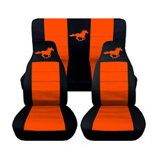 05-07 Ford Mustang Convertible Front Rear Black and Orange Horse Seat Covers