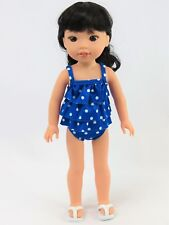 """Blue 2pc Polka Dot Swimsuit Fits Wellie Wishers 14.5"""" American Girl Clothes"""