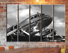 Airplane Canvas Wall Art Aircraft Military Pictures DC-3 Dakota Multi Panel Set