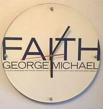 "George Michael Faith Word Album Clock 11.5"" round battery operated"