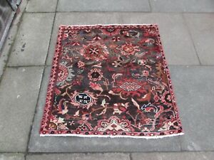 Vintage Hand Made Traditional Oriental Grey Pink Wool Small Square Rug 92x87cm