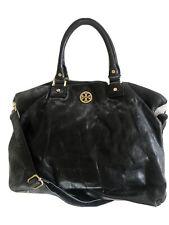 TORY BURCH Black Leather Shoulder Crossbody Bag Large Satchel Robinson Tote