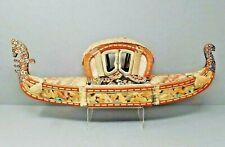 Antique Sewing Box Gondola Cloth Basket Fabric Tassels Rare Vintage