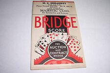 1935 VINTAGE BRIDGE SCORE PADS BY MAJESTIC COAL M.J. GERAGHTY COAL & COKE
