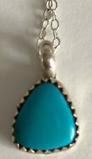 & Turquoise Pendant with Chain Petite Signed M. Otero Sterling Silver