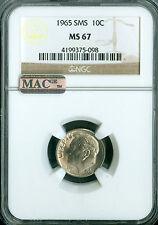 1965 ROOSEVELT DIME NGC MAC MS-67 SMS  PQ MAC SPOTLESS.
