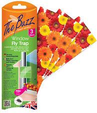 Il BUZZ CONFEZIONE DA 3 Floreale finestra angolato FLY TRAP veleno libero funziona fino a 4 usi