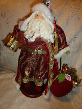 Figure DOLL Father Christmas Santa SHABBY COTTAGE Fixed Wood Base Bag of Gifts