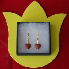 Beautiful Gold Plated Earrings With Sunstone 3 Gr. 2.7 Cm. Long + Hooks In Box