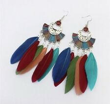 Party Boutique Luxury Blue Green Uk Multi Aztec Feather Earrings Boho Festival