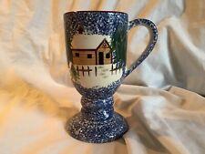 COOKS BAZAAR GOURMET Holly Mountain Lodge 14 oz. Pedestal Coffee Cocoa Mug *EUC*