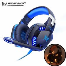 3.5mm LED Gaming Mic Headset Headphones+ Adapter For PC Laptop PS4 Xbox Blue