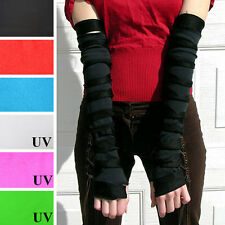Cut Out Gloves Arm Warmers Black Mummy Cyber Goth Steampunk Ripped Striped 1032