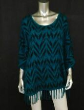 NEW DIRECTIONS WOMAN Teal Blue/Black Print Fringe Trim Dolman Sweater Plus sz 1X