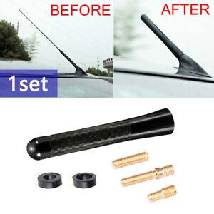 1x Universal Car Carbon Fiber Black Aluminum Screw Radio  Short Antenna Aerial