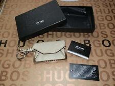 NEUF HUGO BOSS portefeuille en cuir beige mini Keychain Porte-clés pochette argent sac à main