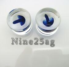 PAIR OF PYREX GLASS 4G (5MM) BLUE MUSHROOM PLUGS BODY JEWELRY PLUG