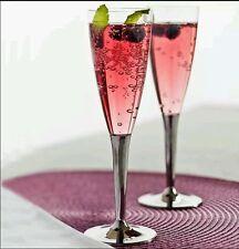 Sabert 50 *Disposable Plastic Champagne Flutes Silver Stem party drink glass UK