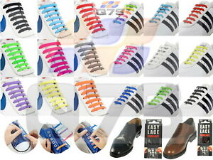 Lazy Easy Lace No Tie Elastic Silicone Rubber Shoe Laces Sneaker Trainers 20pcs