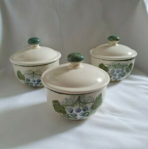 ❀ڿڰۣ❀ POOLE POTTERY Two VINEYARD Ceramic COCOTTE DISHES  / LIDDED SUGAR BOWLS❀