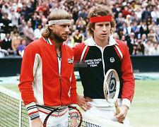 BJÖRN BORG & JOHN MCENROE PRIOR TO 1980 WIMBLEDON MEN'S FINAL 8X10 PHOTO (AB995)