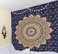 Indian Blue Gold Orion Medallion Mandala Tapestry hippie Gypsy Bohemian Bedsheet