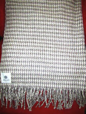 MEXCHIC 100% Wool Traditional Mexican Blanket Cream & Grey Houndstooth 42X90 New