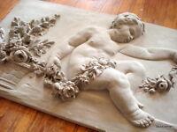 "Stucco - großes Engel-Relief -  Fassadenstuck - Stuck ""Sommer""  90 x 46 cm"