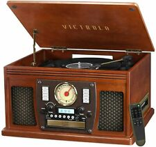 Victrola Wood 8-in-1 Nostalgic Bluetooth Record Player with USB Encoding and ...
