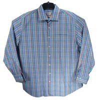 Peter Millar Weekender Finish Mens Multi Color Check Dress Button Shirt Sz XL