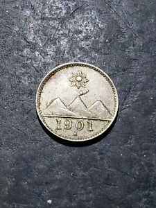 1901 H GUATEMALA 1/4 REAL OLD VINTAGE LATIN AMERICA COIN #july23