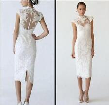 Lace Modest Cap Sleeves Bridal Gowns Tea-Length Wedding Dresses 2 4 6 8 10 12++