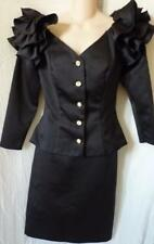 Darcy Off Shoulders Ruffles Crystal Buttons Black Skirt Suit Outfit 4/6