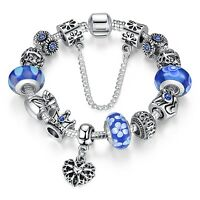 925 Silver Plated Blue Glass BEAD Charms Bracelets with all Charm DIY Christmas
