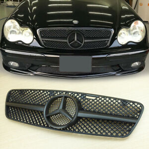 Matte Black For Mercedes Benz C-Class W203 Front Grill 01-07 C200 C240 C280 C320