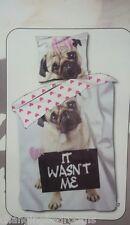 CUTE PUG PUPPY DOG IT WASN'T ME SINGLE SIZE DUVET COVER SET 100% COTTON