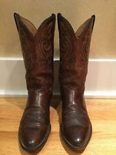 Justin Boots Cowboy 2253 Leather Round Toe Apache Brown 10 1/2 D Western
