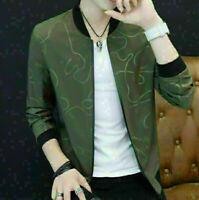 Korea Men's Fashion Slim Fit Casual Jacket Baseball Coat Zipper Outwear Overcoat