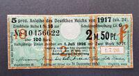 5 % Anleihe des Deutschen Reichs von 1917 Zinsschein Banknote 2,50 Mark (8097)