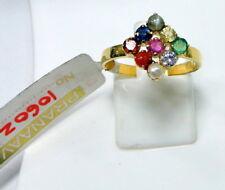 14 K solid gold Navratna gemstones ring jewelry
