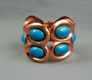 Vintage Signed Matisse Renoir Copper Blue Enamel Hinged Clamper Cuff Bracelet