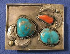 VINTAGE 1960's SW NEW MEXICO SILVER / BLUE TURQUOISE / CORAL BELT BUCKLE 3½ x 2¾