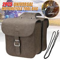 Universal Motorcycle Saddlebag Side Tool Bag Pouch Luggage PU Leather Brown