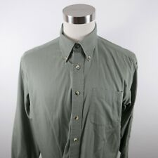 LL Bean Mens Wrinkle Resistant LS Button Down Army Green Dress Shirt Large Tall
