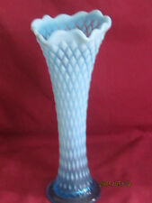 Northwood Blue Opalescent Diamond Point Vase