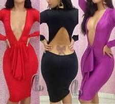 Women's Solid Stretch, Bodycon Knee-Length Clubwear Dresses