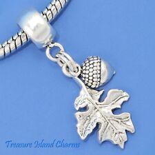 Acorn And Oak Leaf .925 Solid Sterling Silver European Dangle Bead Charm Euro