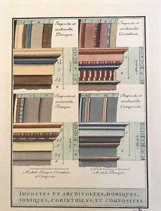 Edizioni Falteri Florence Italy hand color classical Doric, Ionic architecture